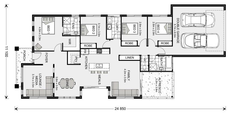 Rear lane home floor plan